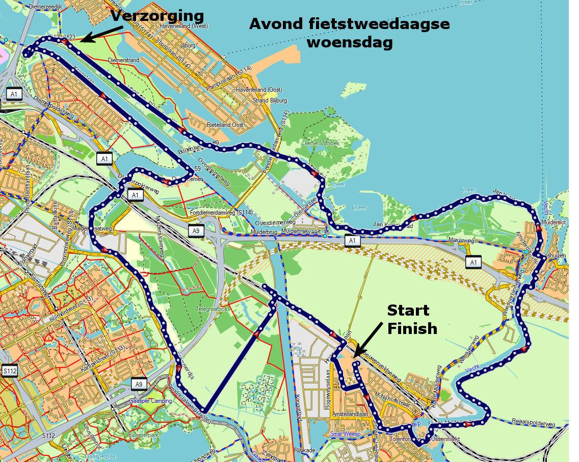 Route 1e dag